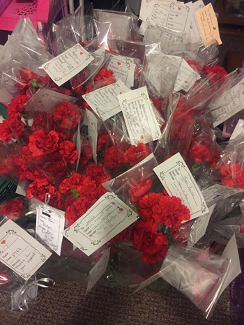 Carnations with a note