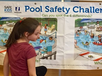Student In Front of a Poster About Pool Safety