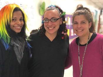 Three teachers with crazy hair