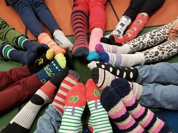 Feet Wearing Colorful Socks