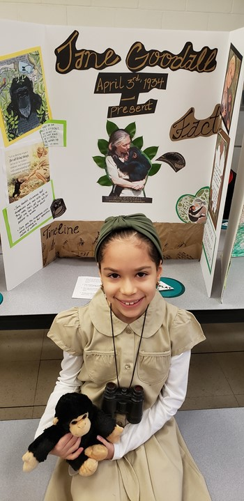 A Student Dressed as Jane Goodall