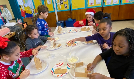 Students Making Gingerbread Houses