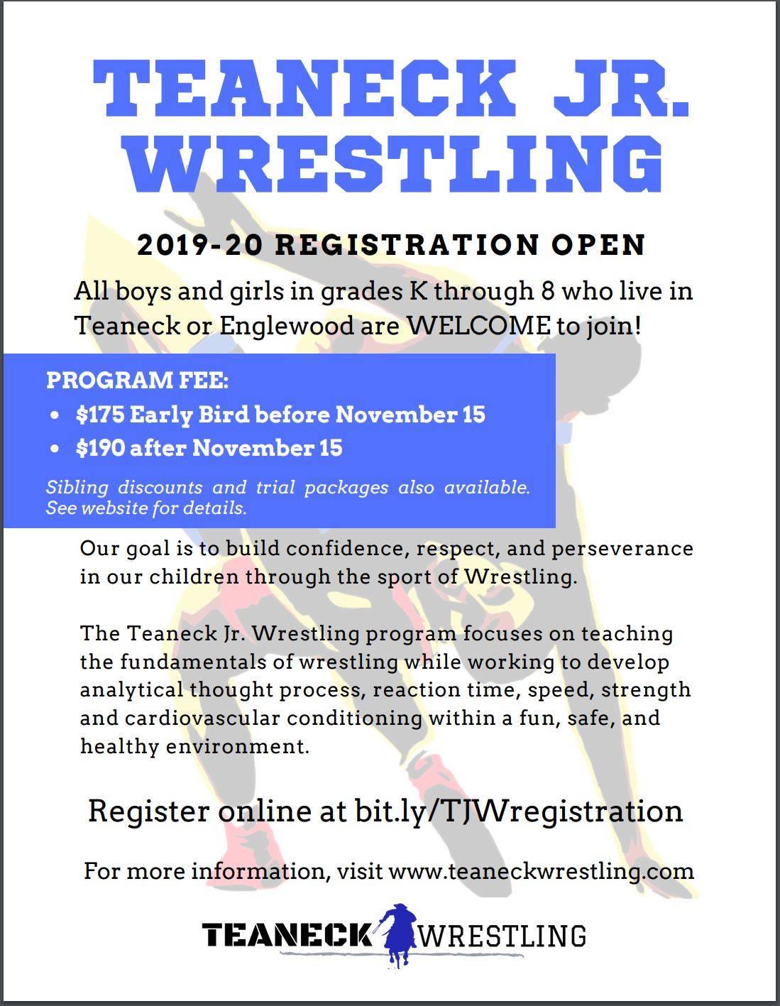 Teaneck Jr. Wrestling 2019-2020 Registration Open