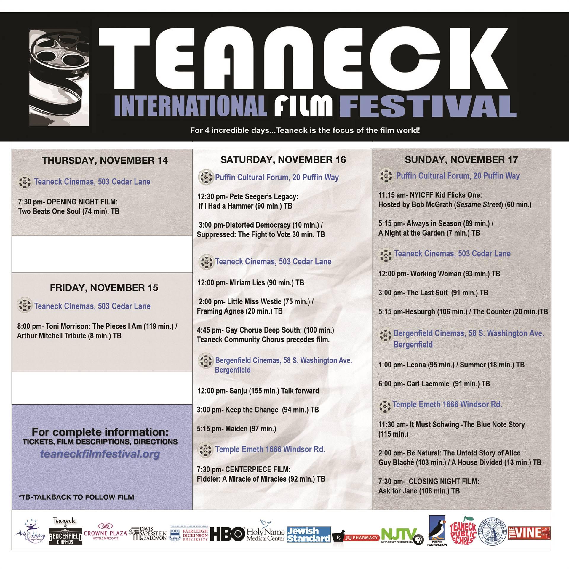 TIFF Schedule 2019