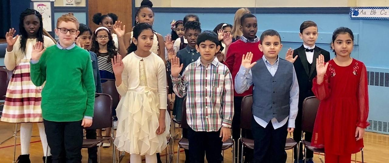 Students Reciting a Pledge