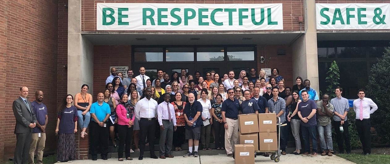 TJMS Faculty with Cross River Bank School Supply Donations
