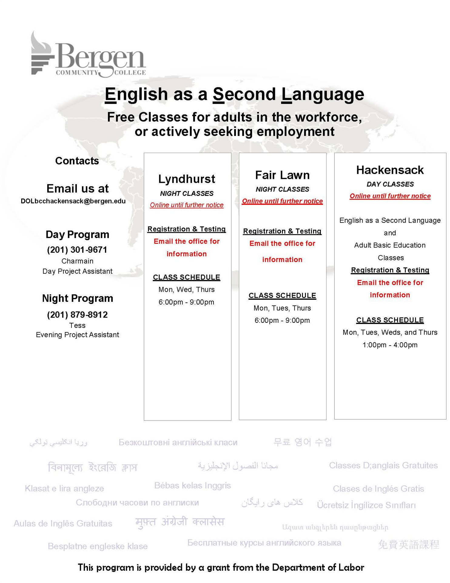 ESL and High School Equivalency classes for adults