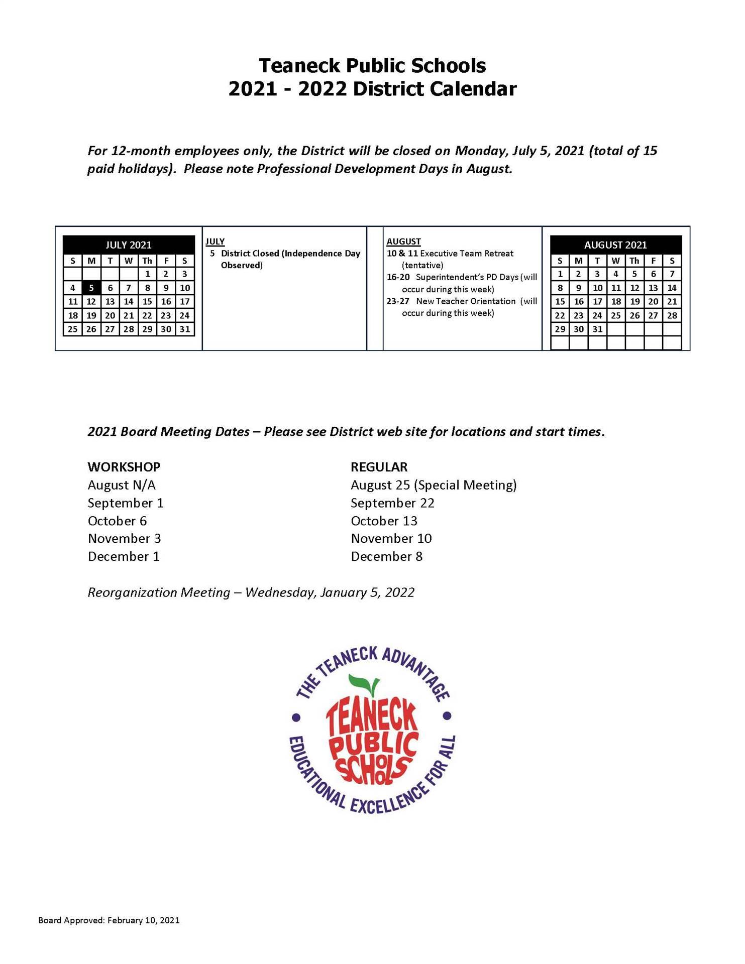 2021-2022 12 Month District Calendar
