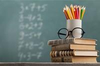 Books, Colored Pencils, Chalkboard